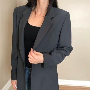Halston Gray Long Blazer Coat Jacket Size 12